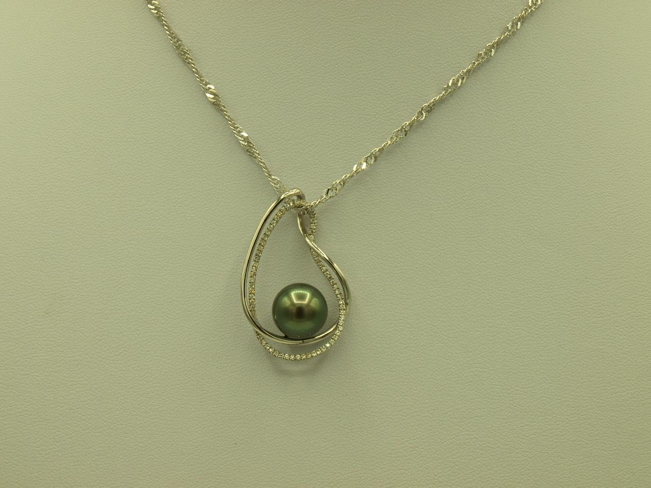 collier 2 fils enlac s en argent 925 rhodi avec zircons et une perle de tahiti sotahiti. Black Bedroom Furniture Sets. Home Design Ideas