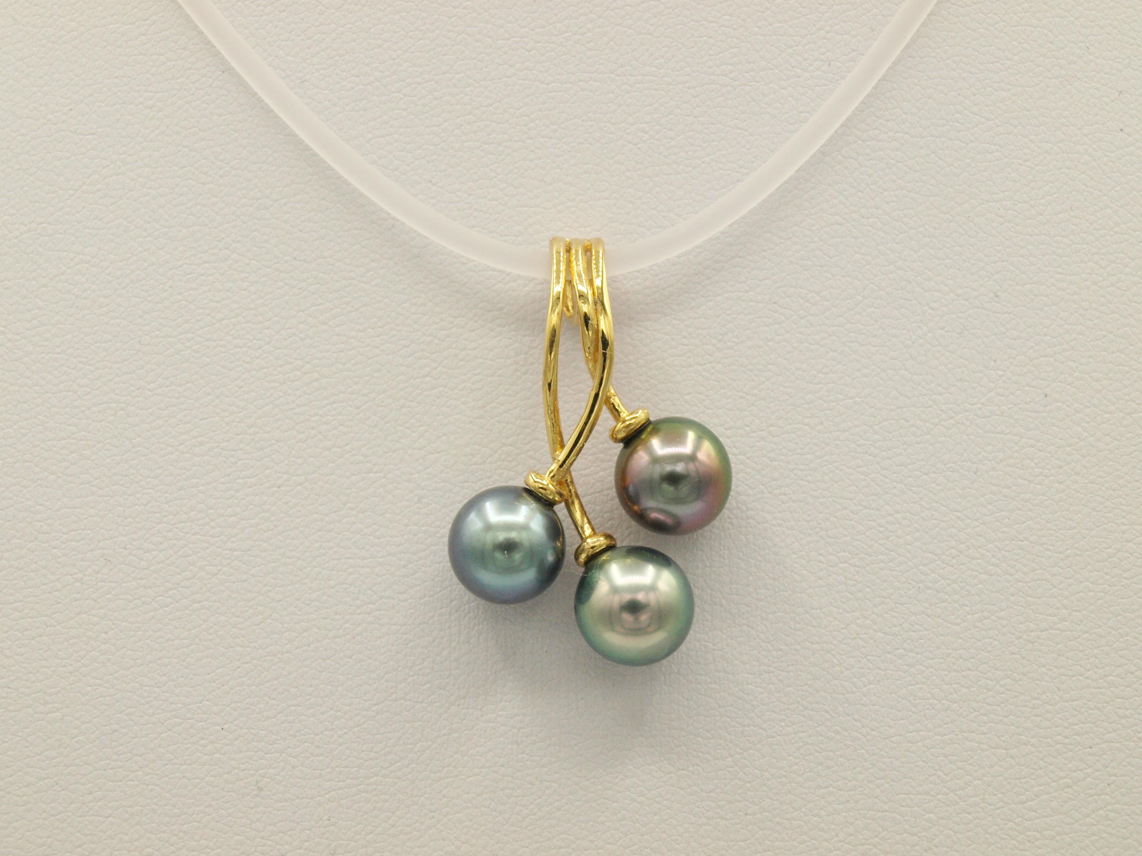 pendentif 3 perles de tahiti